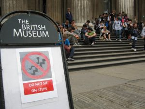 General Public, sitting on the steps of the British Museum